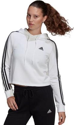 adidas Women's 3 Stripe French Terry Crop Hoodie