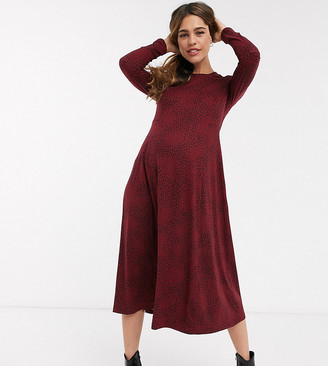 New Look Maternity soft touch midi smock dress in red pattern