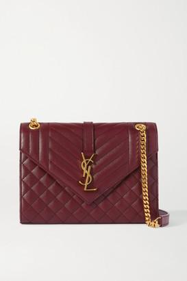 Saint Laurent Envelope Medium Quilted Textured-leather Shoulder Bag - Burgundy