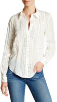 Haute Hippie Silk Open Crochet Lace Paneled Shirt