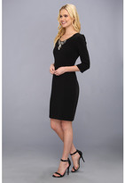Donna Morgan Three-Quarter Sleeve Multi Seamed Fitted Sheath
