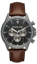 Michael Kors Gage Round Leather Strap Chronograph Watch