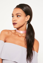 Missguided Pink Satin Choker Necklace