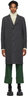 Harris Wharf London Grey Boiled Virgin Wool Overcoat