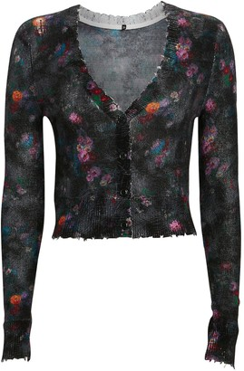 R 13 Cropped Cashmere Floral Cardigan