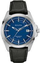 Bulova UHF Precisionist Mens Black Leather Strap Watch 96B257