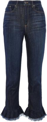 Alice + Olivia Frayed Ruffled High-rise Slim-leg Jeans