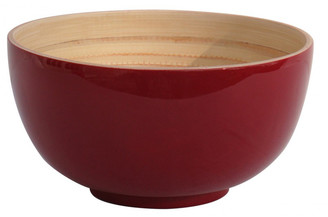 Bibol - Medium Cherry Bamboo Lacquered Tien Bowl - Red/Wood
