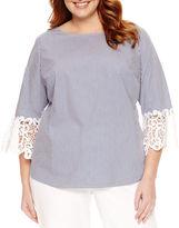 Liz Claiborne 3/4 Lace Sleeve Blouse-Plus