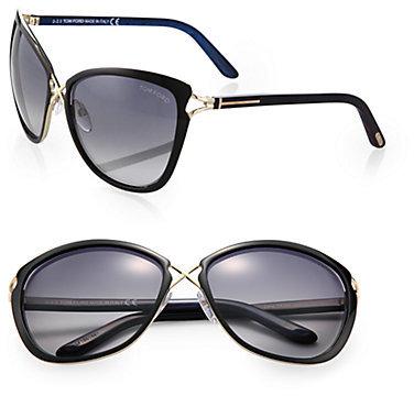 Tom Ford Celia Metal-Bridge Cat's-Eye Sunglasses