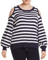 MICHAEL Michael Kors Cold-Shoulder Stripe Sweater