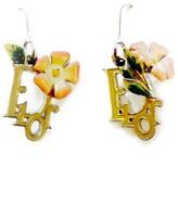 Christian Dior Vintage Hibiscus Flower Detail Pierced Earrings