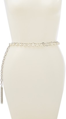 Fashion Focus Accessories Double Row Faux Pearl Chain Belt