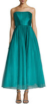 Monique Lhuillier Strapless Ombred Tulle Tea-Length Gown
