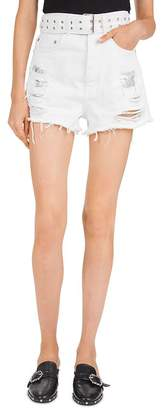 The Kooples High-Rise Belted Denim Mini Shorts in White