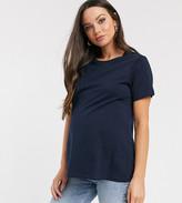 Asos DESIGN Maternity ultimate organic cotton crew neck t-shirt in navy