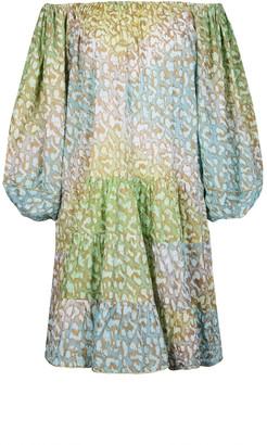 Juliet Dunn Tie-Dyed Leopard Cotton Off-The-Shoulder Mini Dress