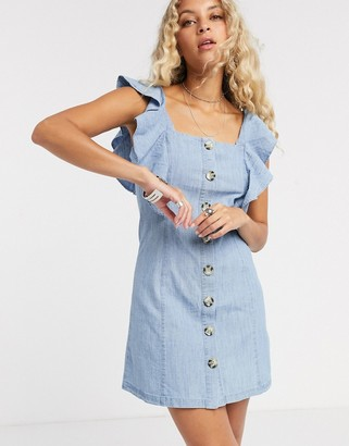 Topshop denim ruffle mini dress in mid wash