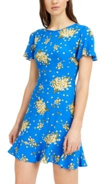 B. Darlin Juniors' Floral-Print Skater Dress