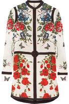 Alexander McQueen Floral-print Silk Crepe De Chine Tunic - White