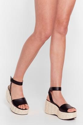 Nasty Gal Womens Woven Right Platform Wedge Sandals - Black