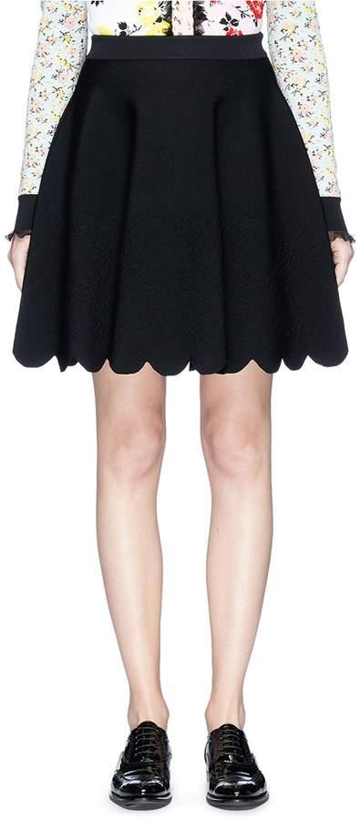 Alexander McQueen Rose embossed scalloped knit skirt