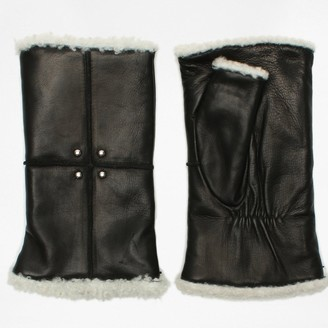 Agnelle Aloa Black Leather Fingerless Mitts