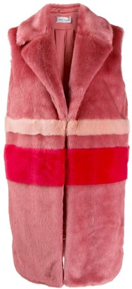 Three floor Faux Fur Long Gillet