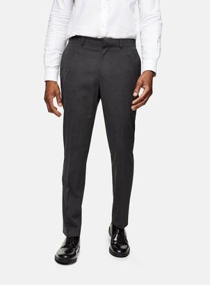 Topman Charcoal Grey Regular Fit Suit Trousers
