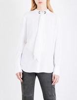 St. John Tie-neck crepe shirt