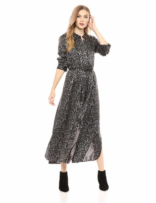 Equipment Women's Connell Monocrhome Leopard Printed Sandwashed Satin Maxi Dress