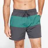 CASTALUNA FOR MEN Two-Tone Boxer-Style Swimshorts with Inner Briefs