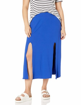 Star Vixen Women's Plus-Size Modest Soft Knit Pull-On Midi-Length Skirt