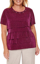 Alfred Dunner Veneto Valley Short-Sleeve Tiered Accordion Top - Plus