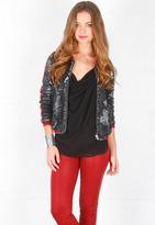 IRO Queeny Jacket in Noir/Rouge