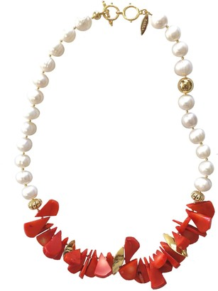 Farra Floral Coral With Natural Freshwater Pearls Statement Necklace