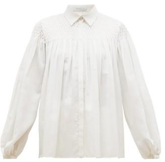 Gabriela Hearst Carmen Shirred-panel Wool-blend Gauze Blouse - Womens - Ivory