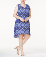 NY Collection Plus Size Keyhole-Back Printed Dress