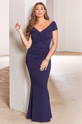 Jessica Wright Womens Sistaglam Loves Bardot Knot Maxi Bodycon Dresses - Blue