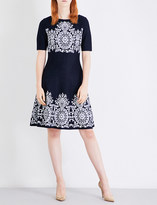St. John Patterned fit-and-flare knitted dress