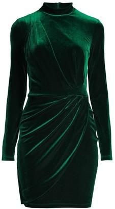 Black Halo Briar Mini Velvet Sheath Dress