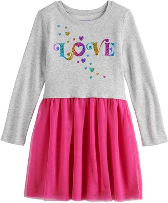 Girls 4-12 Jumping Beans French Terry Tulle Sweatshirt Dress