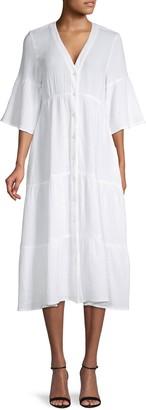 Saks Fifth Avenue Textured Gauze Puckered Button-Front Dress