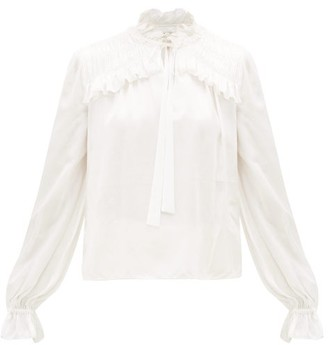 Temperley London Birdie Balloon-sleeve Satin Blouse - Womens - White