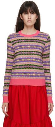 COMME DES GARÇONS GIRL Pink Wool Jacquard Crewneck