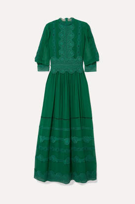 Costarellos Velvet-trimmed Embroidered Silk-chiffon Gown - Emerald
