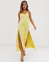 Asos Design DESIGN jacquard cami maxi dress with split