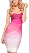Sexytmall Women's Gradient Strapless Bodycon Sexy Bandage Party Dress (L)