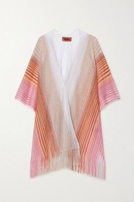 Missoni Fringed Striped Metallic Crochet-knit Wrap - Pink