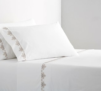 Pottery Barn Blossom Embroidered Organic Percale Sheet Set